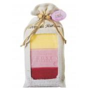Zestaw mydeł w woreczku jutowym Wiciokrzew, Róża Piwonia, Czerwone Owoce 3x100g